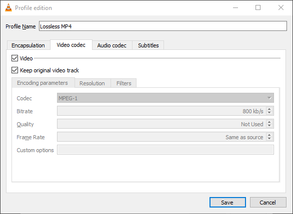 VLC Profile Video codec - Keep original video track