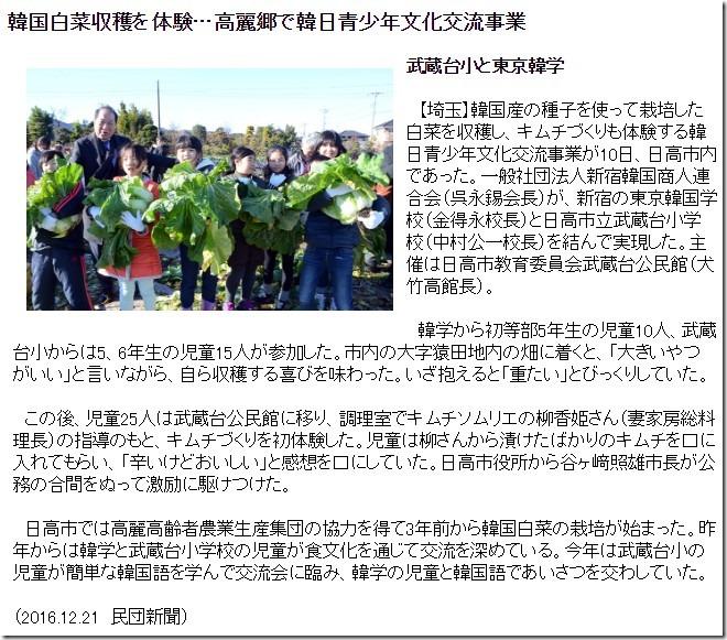 韓国白菜収穫を体験…高麗郷で韓日青少年文化交流事業