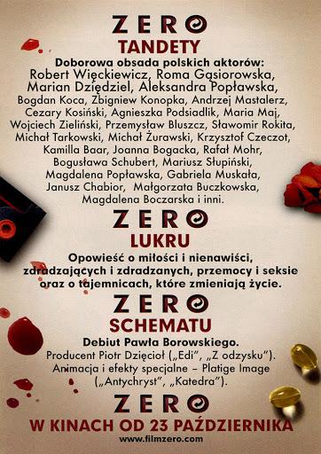 Tył ulotki filmu 'Zero'