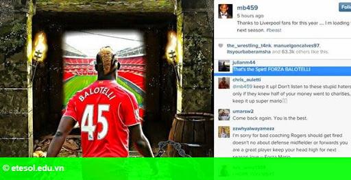 Hình 1: Balotelli thông báo tương lai ở Liverpool