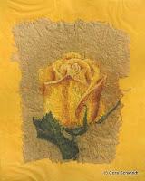 """""""Rosenknospe gelb"""",Pastell auf handgeschöpftem Papier, 20x30, 2006, verkauft"""