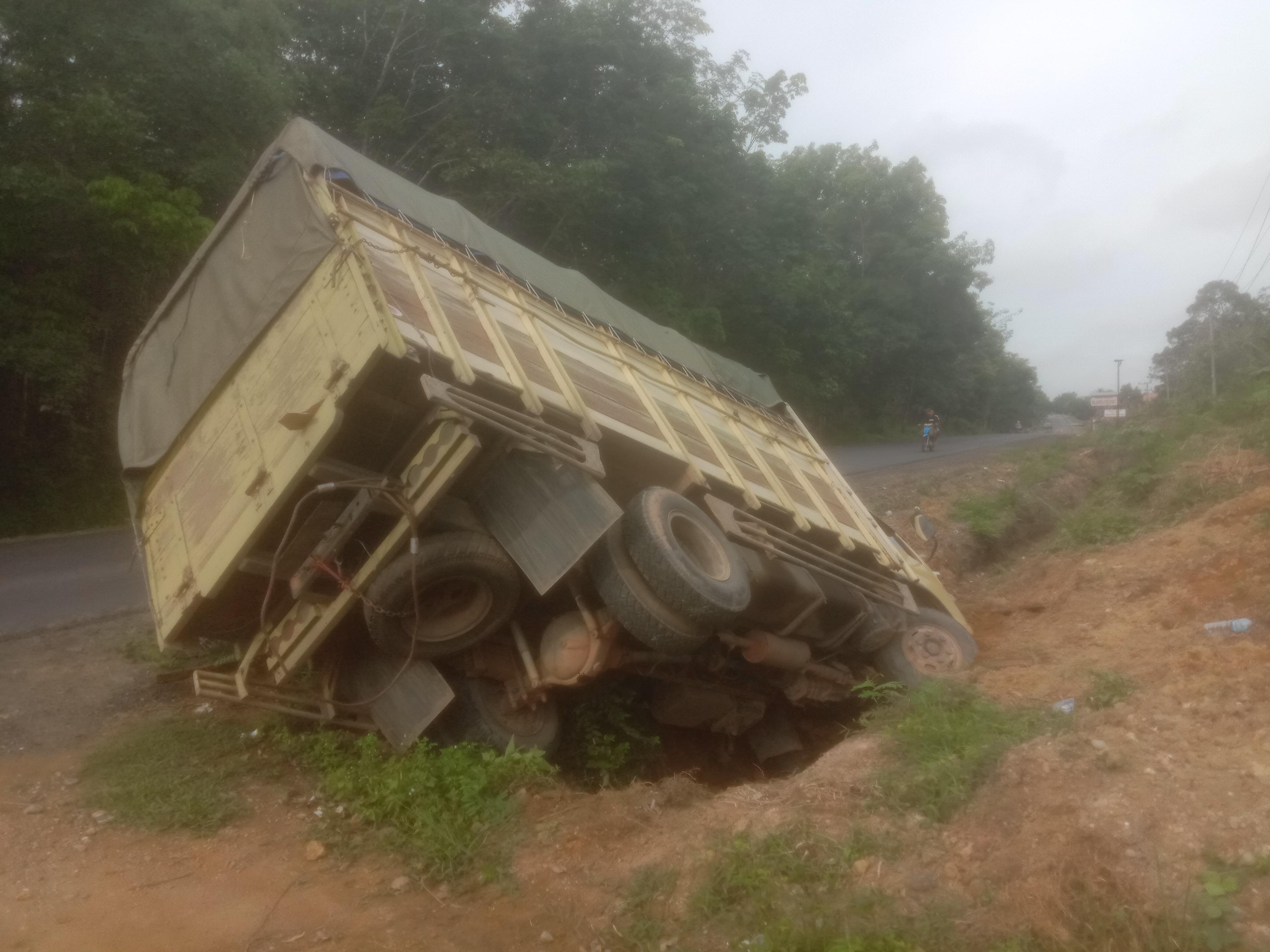 Sopir Mengantuk, Truk Pengangkut Buah-Buahan Alami Laka Tunggal di Jalinsum Bungo - Tebo