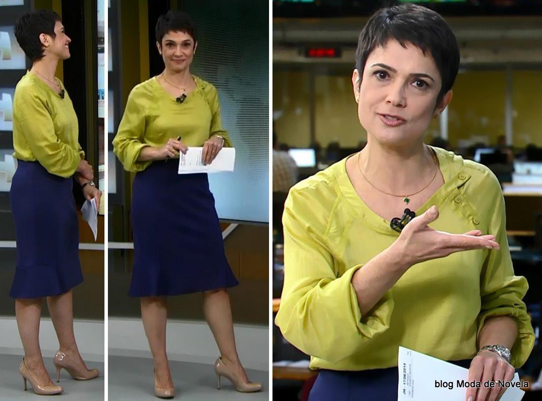 moda do programa Jornal Hoje - look da Sandra Annenberg dia 17 de junho