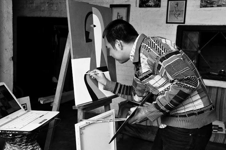 Bernardo Santiago Angeles, in Santiago's Studio