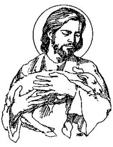 Jesus con cordero para colorear