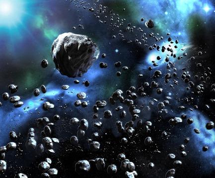 ilustração do cinturão de asteroides
