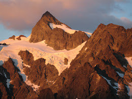 Alpine glow. The last rays of sunlight grace the west face of Mt Shuksan.