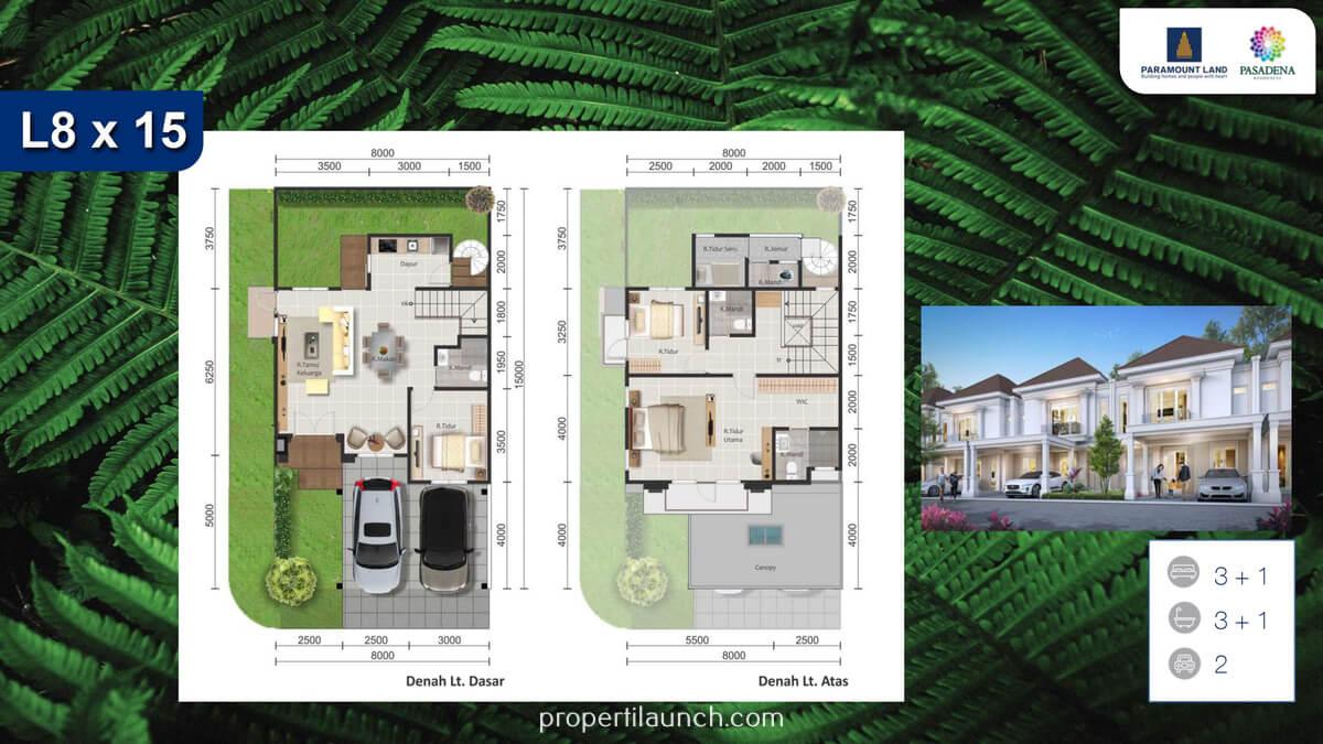 Denah Rumah Pasadena Residences 8x15 Tipe Standard