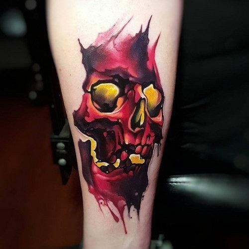 este_vivas_aquarela_do_crnio_tatuagem