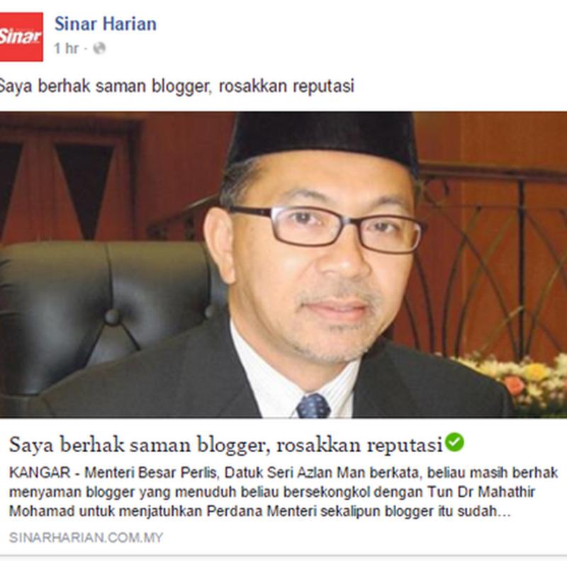 Blogger bakal disaman Menteri Besar ?