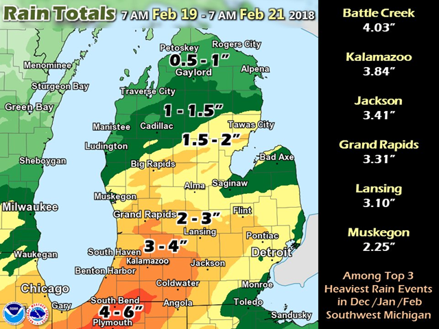 Rain totals over Michigan, 19 February 2018 - 21 February 2018. This was one of the greatest winter rainfall events on record in Southern Michigan, rivaling Feb 1997. Graphic: NWS Grand Rapids / Twitter