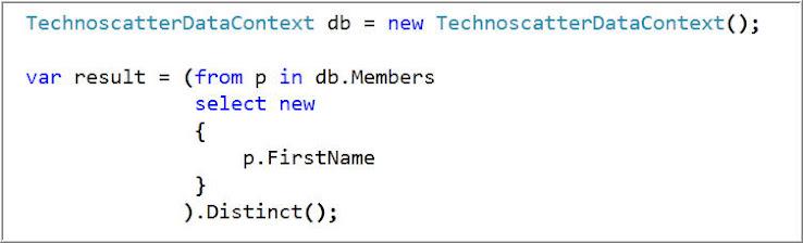 DISTINCT : Get Distinct Member Names