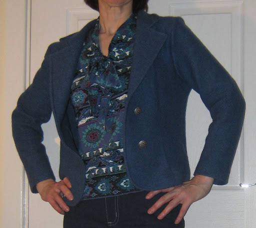 Kwik Sew 3386 boiled wool jacket, Jalie 2921 scarf collar top and Jalie 2908 jeans