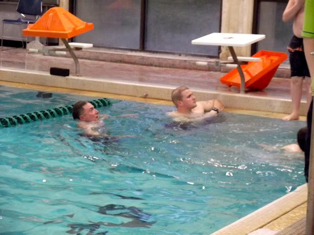 Even the adults get to swim and be tested.