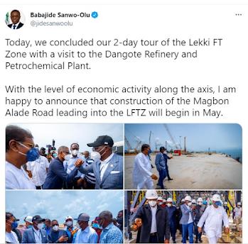 Governor Sanwo-Olu Visits Dangote Refinery and Petrochemical Plant Lekki