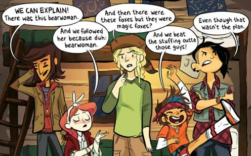 Lumberjanes:  April, Jo, Ripley, Mal and Molly saying 'We can explain!'