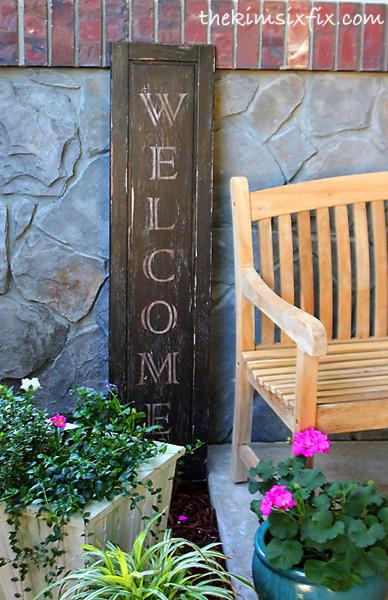 Distressed Door Welcome Sign