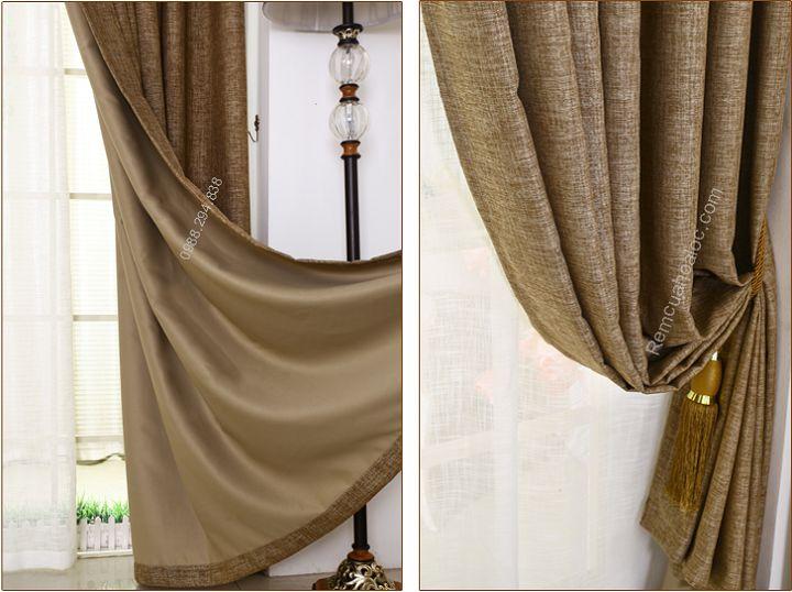 Rèm cửa đẹp hà nội một màu nâu vàng 8