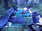 There may be no better bed in the world, a tarp and packing pads underneath and a tarp on top if it rains