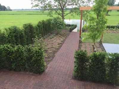 Tuin met uitzicht op landelijke polder