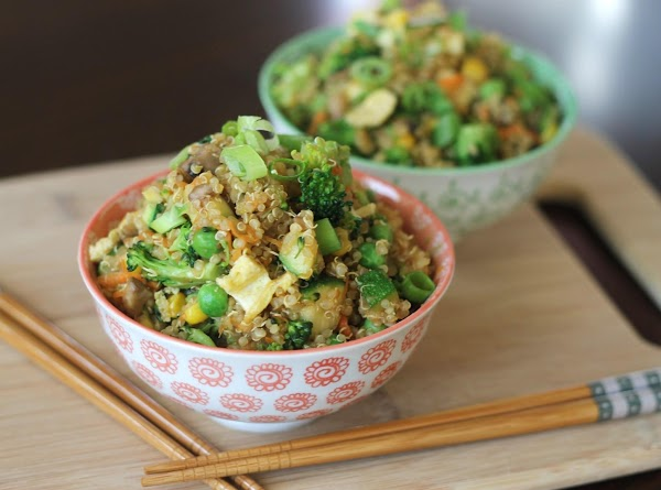 Please see http://domesticsuperhero.com/2013/06/10/quinoa-fried-rice/ for full list of ingredients and directions.