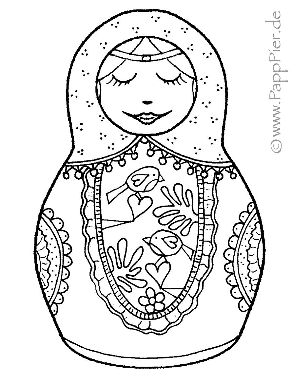 Nesting Dolls Mandala Coloring Pages