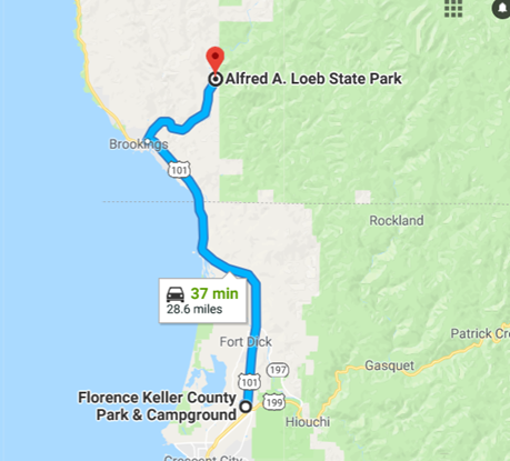 Map from Florence Keller to Alfred Loeb State Park