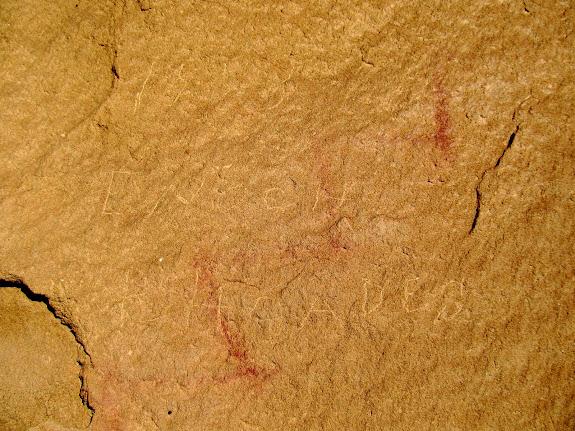 A faint 1888 Enoch Rhoades inscription