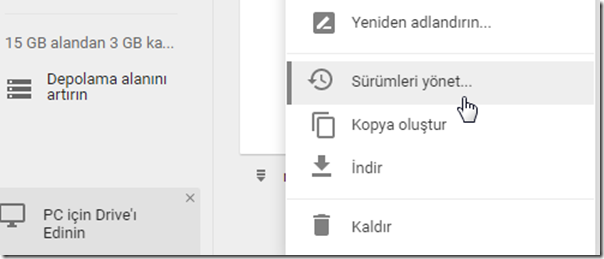google-drive-surumleri-yonet