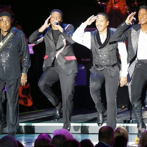 (L-R) The Jackson: Tito, Jackie, Marlon and Jermaine perform on stage during the Monte Carlo Summer Festival on July 24, 2014 in Monaco.