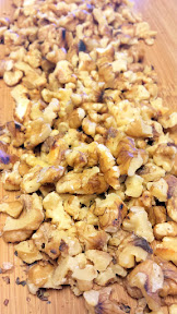 Toasted Walnuts - I toast them in a pan with a spritz of cooking spray butter whole, and then break them up later after the toasting