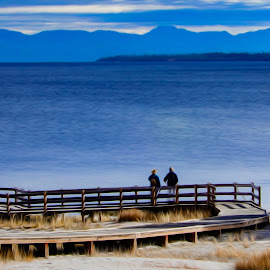 Yellowstone Lake by Richard Michael Lingo - Digital Art Places ( yellowstone lake, places, wyoming, yellowstone, digital art )