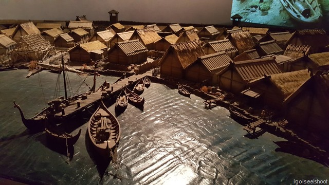 Model of Birka in AD800 with Viking boats were moored at the pier.