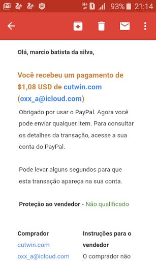 prova de pagamento CutWin