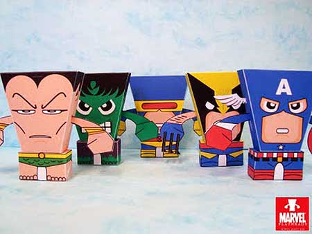 Flat Heads Paper Toy Series 3 Marvel Superheroes