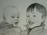 Inne & Sara - 40 x 60 cm - potlood op papier (opdracht)