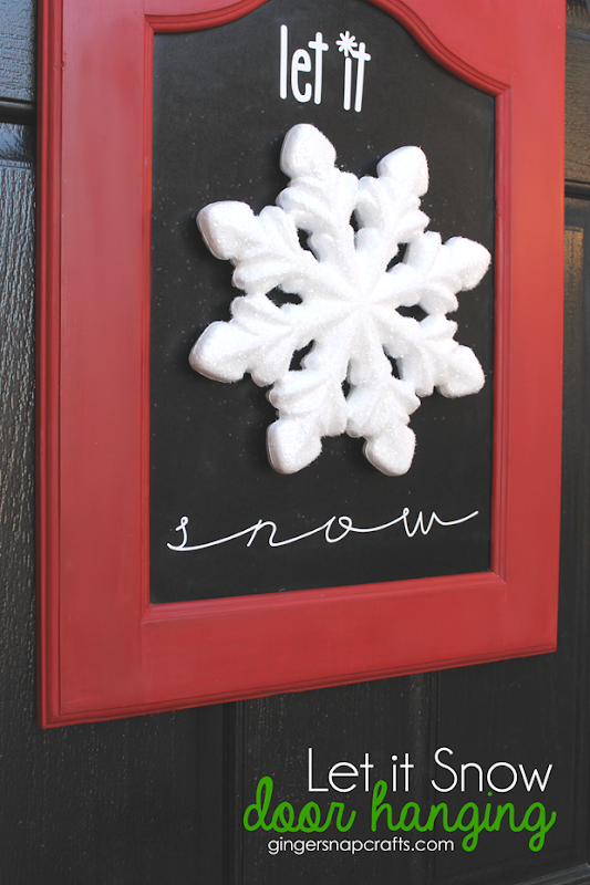 Let It Snow Door Hanging at GingerSnapCrafts.com   #makeitfuncrafts [ad]