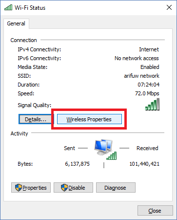 mengetahui password wifi di windows 10