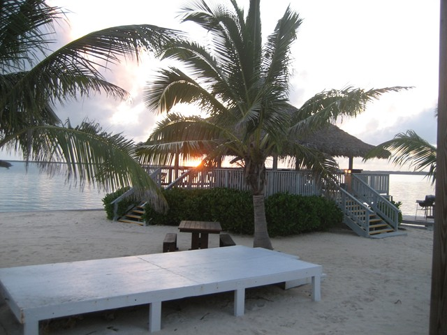 The entertainment stage and elevated Tiki bar at Pascal's, sunset