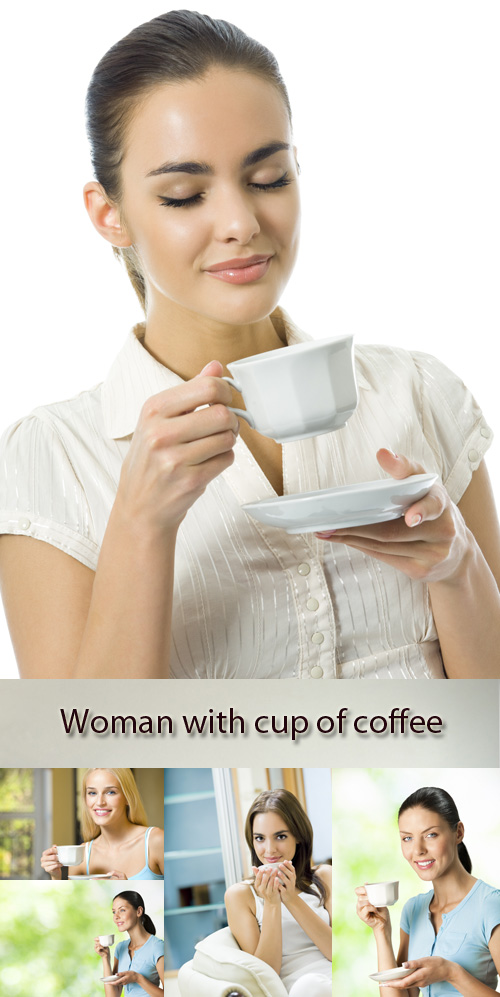 Stock Photo: Woman with cup of coffee or tea