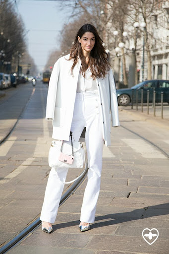 Sara nicole Rossetto; model; Co-te kacket; Calvin Klien shirt; bespoke trousers; Zara shoes; Etro bag; Chanel iPhone cover;