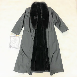 Nutria Lined Trench Coat w/ Fox Collar
