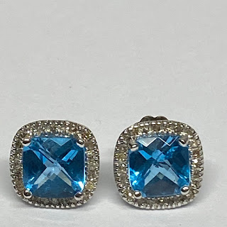 14K White Gold Aquamarine Earrings