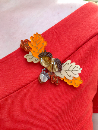 Ode to Autumn - Acorns and Oak Leaves brooch by Teacup Girl | Lavender & Twill
