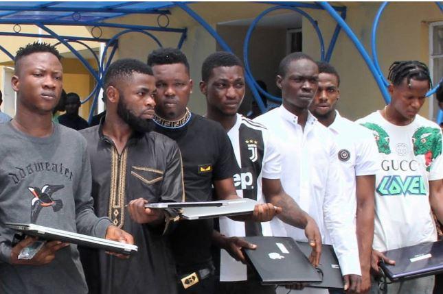 EFCC Bust Nigerian Rapper, 10 Yahoo Boys In Lagos (PHOTO)
