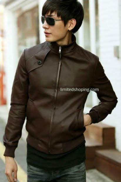 limited shoping jaket kulit cokelat pria