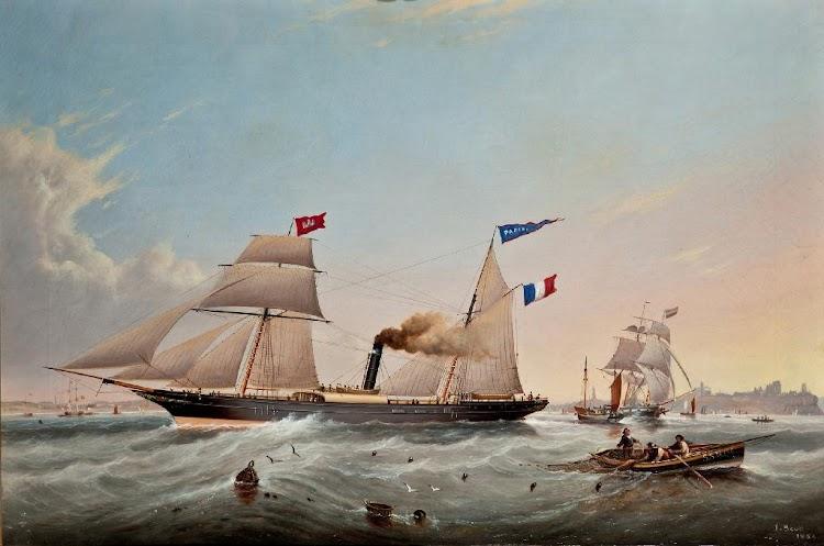 Oleo del vapor PARIS bajo los colores de su primer armador. Autor John Scott. Bocas del Tyne. 1856.jpg