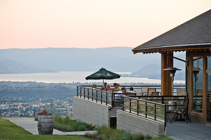 The restaurant patio at Tower Ranch with stunning views over the city and Okanagan Lake.