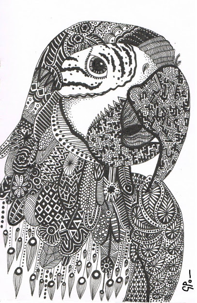Parrot Abstract Doodle Zentangle Zendoodle Paisley Coloring Pages Colouring  Adult Detailed Advanced Printable Kleuren Voor Volwassenen