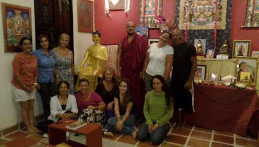 """The students of Yeshe Gyaltsen Center in Cozumel, Mexico were ecstactic when Maitreya arrived """"alive and well,"""" June 2012."""